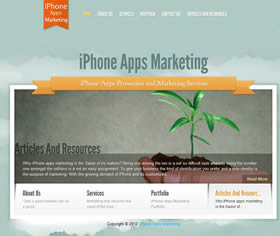 iPhone apps marketing services on a WordPress theme, sky.