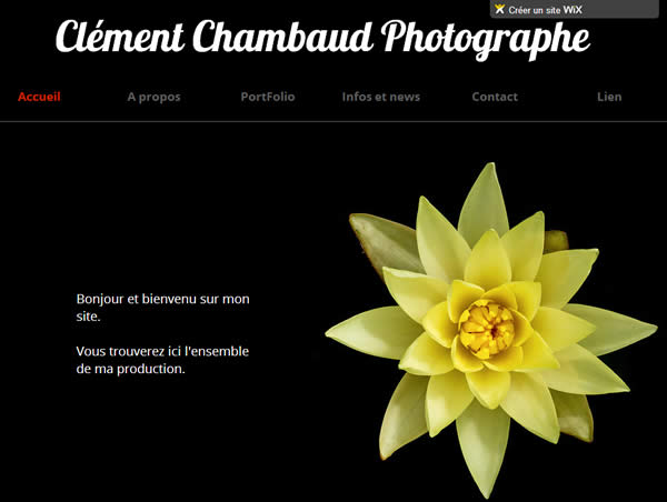 Photography website on the wix network.