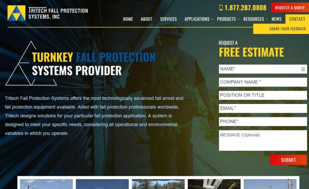 Tritech fall protection systems made with Genesis on WordPress